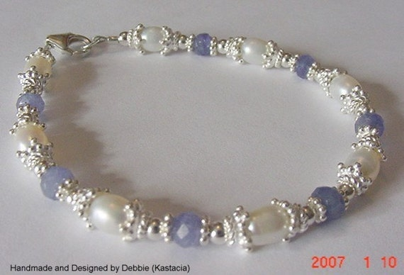 Genuine Tanzanite and Freshwater Pearl Sterling Silver Bracelet