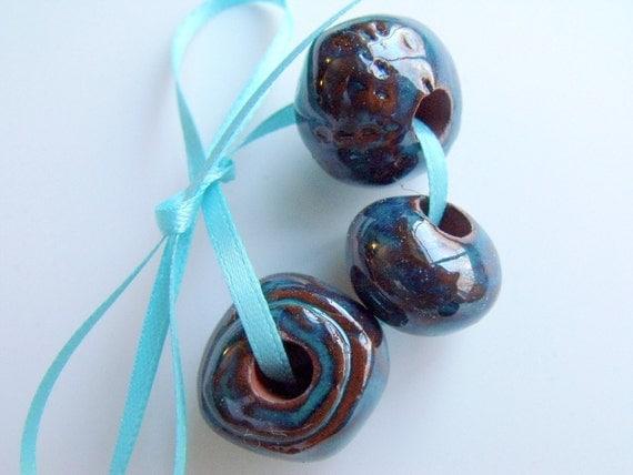 Mayan Blue Tints Ceramic Beads