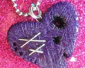Hole in the Heart pendant (in dark purple) - by Woollyton