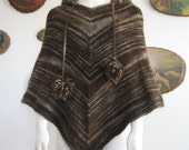 Handmade Multiple Shades of Brown Lopi Wool Hooded Pom Pom Poncho