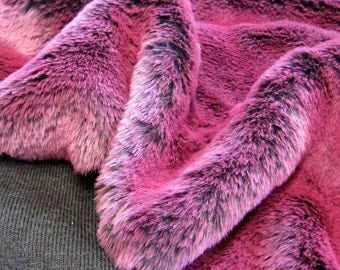 Midnight Cabaret - fuschia pink tipped black soft 15mm swirl pile synthetic faux fur fabric -1/2m piece