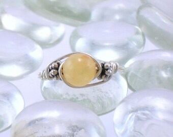 Yellow Jade Sterling Silver Bali Bead Ring - Any Size