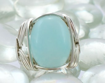 Sterling Silver Wire Wrapped Amazonite Ring