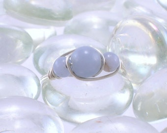 Angelite Sterling Silver Bead Ring - Any Size