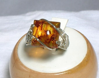 Sterling Silver Baltic Amber Square Cabochon Ring