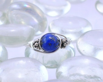 Lapis Lazuli Sterling Silver Bali Bead Ring - Any Size