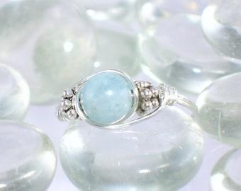 Aquamarine Sterling Silver Bali Bead Ring