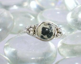 Dalmatian Jasper Sterling Silver Bali Bead Ring