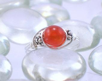 Carnelian Sterling Silver Bali Bead Ring