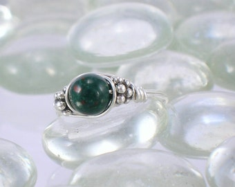 Heliotrope Bloodstone Sterling Silver Bali Bead Ring - Any Size