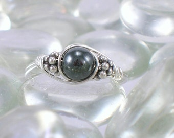 Hematite Sterling Silver Bali Bead Ring - Any Size