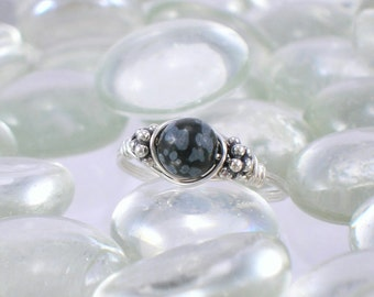 Snowflake Obsidian Sterling Silver Bali Bead Ring - Any Size