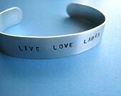 Custom Stamped Bracelet - Personalized aluminum cuff - 1/2 inch