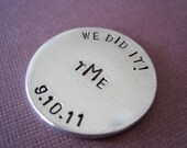 Personalized Accessory - Monogram - Keepsake Token - Golf Ball Marker - Circle - Bride and Groom gift