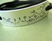 Custom Bracelet - Stamped Art Design - BELIEVE - Adjustable Black Leather Wrap Bracelet