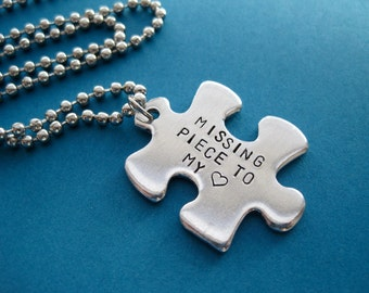 Personalized Puzzle Piece Necklace - Missing Piece to my Heart - Custom Hand stamped Necklace