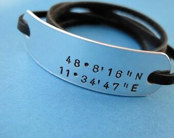 Latitude & Longitude Bracelet - Personalized Wrap Bracelet - Right Aligned