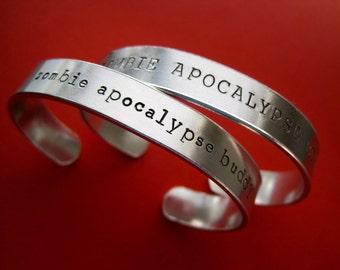 Zombie Apocalypse Buddy Bracelets - Personalized Bracelet - Set of 2 - 3/8