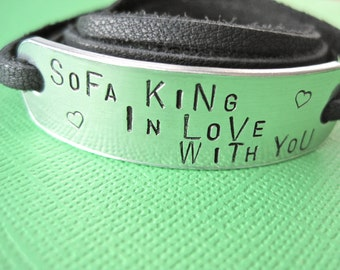 Personalized Bracelet - Sofa King in Love with You - Custom Bracelet - Leather Wrap