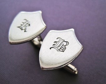 Personalized Shield Cuff Links - Initial Old English - Hand stamped Crest Cufflinks