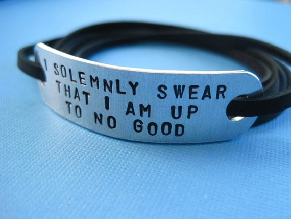 Harry Potter inspired Jewelry - I solemnly swear that I am up to no good - Personalized Wrap bracelet, Stamped Aluminum
