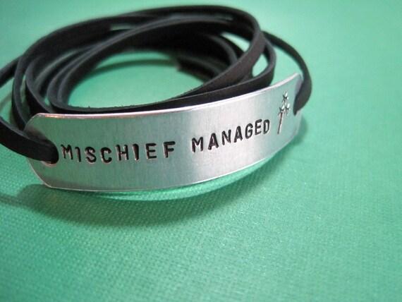 Handstamped Wrapped Harry Potter inspired Bracelet - Mischief managed - Black Leather