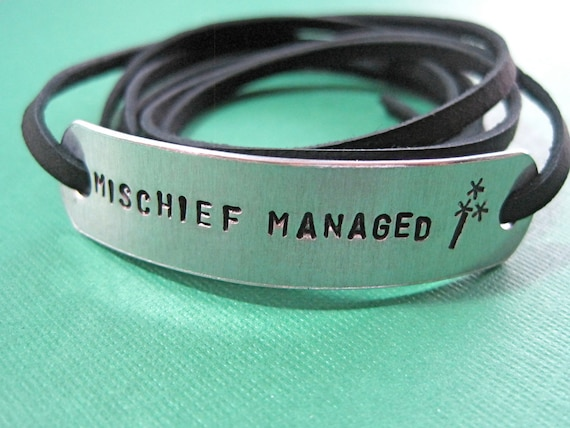 Hand Stamped Wrapped Harry Potter inspired Bracelet - Mischief managed - Black Leather