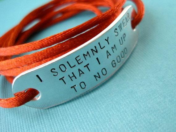 Harry Potter inspired Bracelet - I solemnly swear that I am up to no good - Handstamped Wrap bracelet, Stamped Aluminum, Cord Color Option