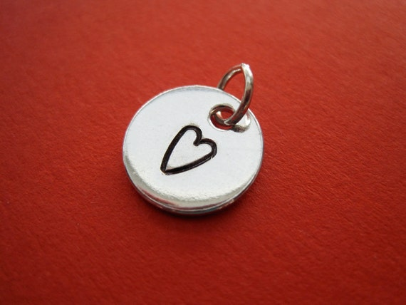 Personalized Charm - Hand Stamped Tag Pendant Disc - Small 1/2 inch Circle