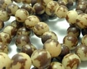 Natural Buri Beads - 10mm 16 inch strand - Brown Round Palm Nut