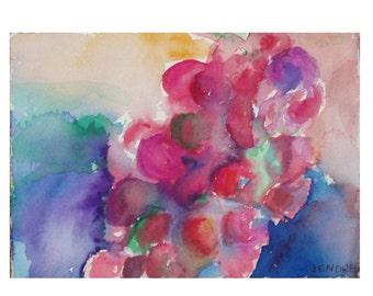 Grapes - JENDRIA Original Watercolor Painting Art