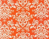 LAST ONE New Traditions Damask Fabric by Robert Kaufman, Damask in Orange-Fat Quarter