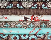 Aviary 2 Fabric by Joel Dewberry for Free Spirit- Brown Fat Quarter Bundle, 8 total