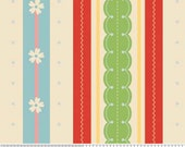 LAST ONE SALE Delighted Fabric by The Quilted Fish for Riley Blake Designs, Stripe in Cream-1 Yard