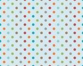SALE Fox Trails Fabric by Doohickey Designs for Riley Blake, Fox Trails Dots in Blue-1 Yard