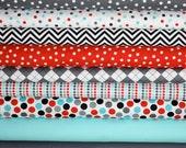 Red, Aqua, Gray Remix fabric bundle by Ann Kelle for Robert Kaufman -1/2 Yard Bundle- 9 total