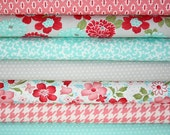 Vintage Modern by Bonnie and Camille fabric for Moda- Aqua and Red/Pink 1/2 Yard Bundle-7 Total