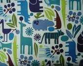 Boy Zoo fabric by Alexander Henry. Fat Quarter of 2D Zoo in Pool.