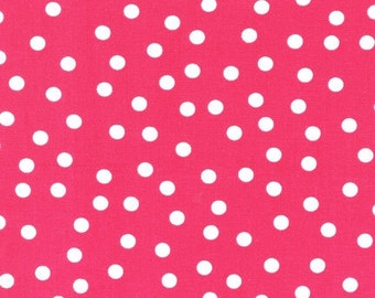 Remix fabric by Ann Kelle for Robert Kaufman, Remix Basic Dots in Bright Pink-You Choose Your Cut, Free Shipping Available
