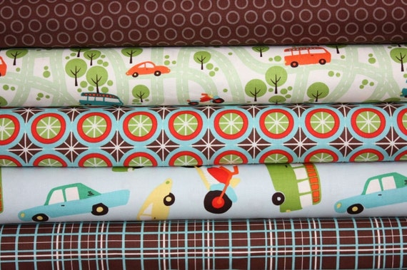 Wheels Fabric by Mind's Eye for Riley Blake-1\/2 Yard Bundle, 5 total