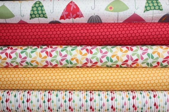 Rainy Days and Mondays Fabric by Riley Blake- Fat Quarter Bundle, 5 total