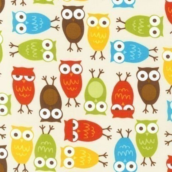 Urban Zoologie, Metro Market and Remix Fabric by Ann Kelle for Robert Kaufman, Owls in Bermuda- Fat Quarter