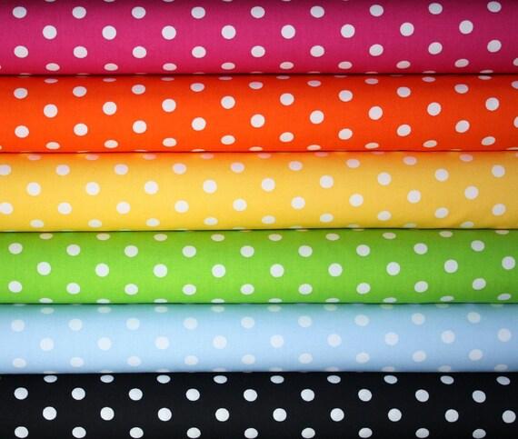 Robert Kaufman Pimatex Basics Polka Dot Fabric-1/2 Yard Bundle, 6 total