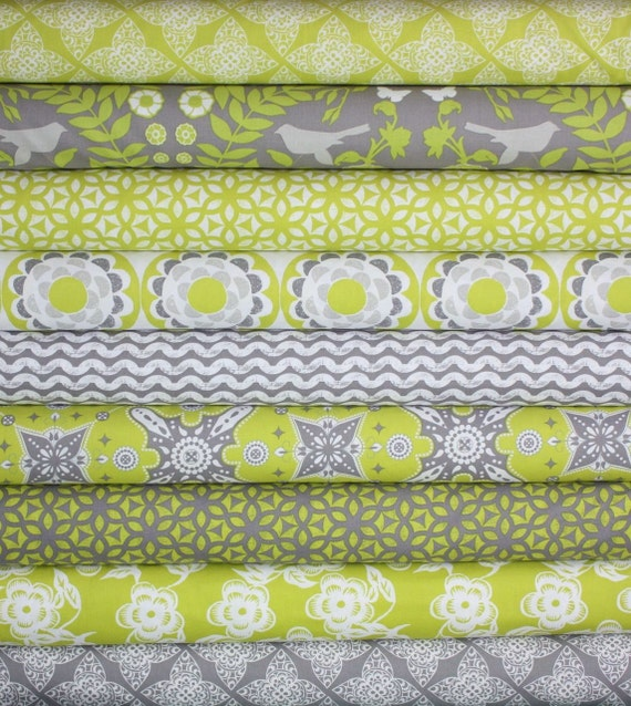 Ty Pennington Impressions Chartreuse Fabric by Free Spirit-Fat Quarter Bundle- 9 total