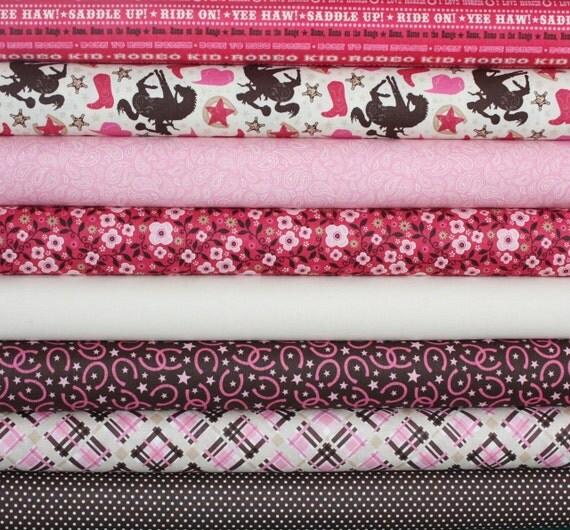 Wanna Be a Cowboy 2 Fabric by Samantha Walker for Riley Blake- Fat Quarter Bundle, 8 total