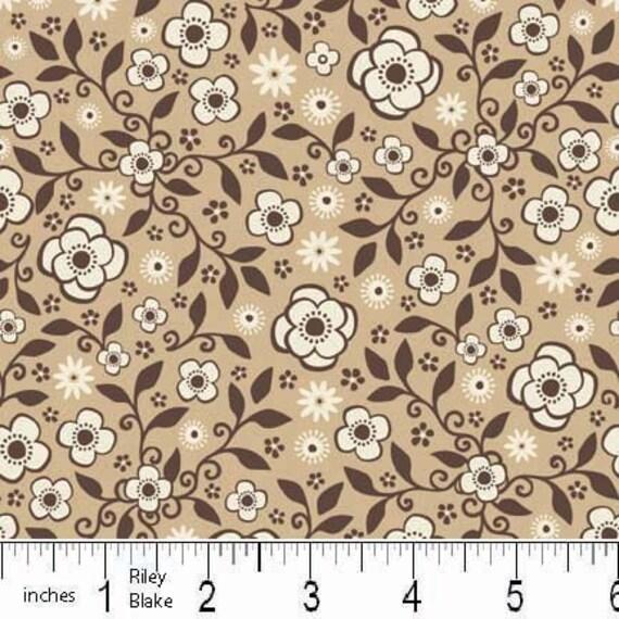 SALE Wanna Be a Cowboy 2 Fabric by Samantha Walker for Riley Blake, Cowboy Floral Calico in Brown- 1 Yard