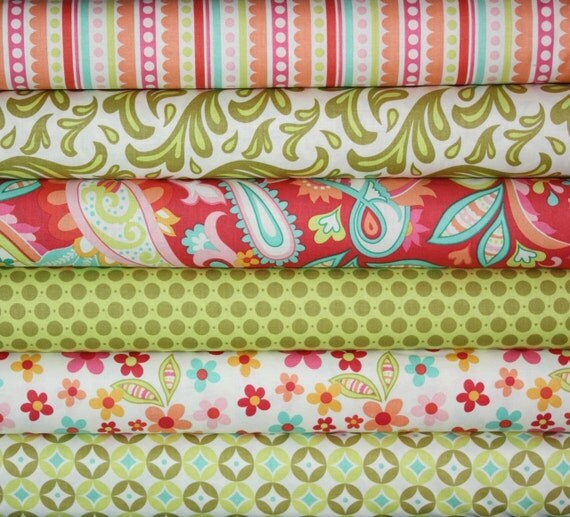 Sweet Nothings Fabric by Zoe Pearn for Riley Blake Designs- Green Fat Quarter Bundle, 6 total