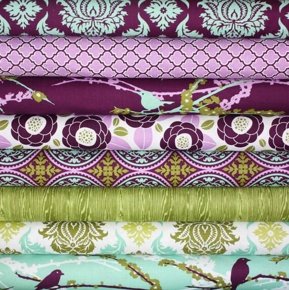 Aviary 2 Fabric by Joel Dewberry for Free Spirit- Plum Fat Quarter Bundle, 8 total