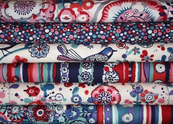 Larkspur Fabric by Alexander Henry, Fat Quarter Bundle-6 Total