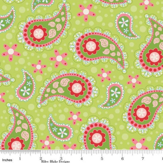 Sugar and Spice Fabric by The Quilted Fish for Riley Blake Designs, Sugar Paisley in Green-Fat Quarter